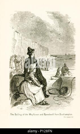 Die Bildunterschrift lautet: Das Segeln der Mayflower und Speedwell von Southampton. Southampton ist eine Hafenstadt im Süden von England. Beide Schiffe links im Jahre 1620, für die Neue Welt, aber die Speedwell gefunden zu nehmen auf Wasser, und nach Reparaturen weiterhin so zu tun ist und so nicht in der Lage war zu fahren. Die Mayflower segelte über den Atlantik und in Massachusetts gelandet. - Stockfoto