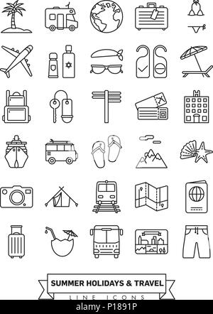 Sommerferien und Global Travel Line Icon Sammlung - Stockfoto
