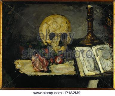 Kran et Kronleuchter - Schädel und Leuchter, um 1866 Leinwand, 47,5 x 62,5 cm. Autor: Paul Cézanne (1839-1906). Standort: Private Collection,,. - Stockfoto
