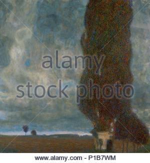 Die grosse Pappel (II) oder Aufsteigendes Gewitter. Öl auf Leinwand (1903) 100 x 100 cm. Autor: Gustav Klimt (1862-1918). Ort: Sammlung Leopold, Wien, Österreich. - Stockfoto