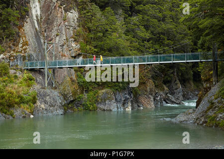 Touristen auf Fußgängerbrücke, Blue River, Blue Pools, Mount Aspiring National Park, den Haast Pass, Makarora, Otago, Südinsel, Neuseeland (Model Released) - Stockfoto