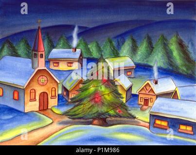 Ein Weihnachtsbaum in einem kleinen Dorf. Hand gemalte Abbildung. - Stockfoto