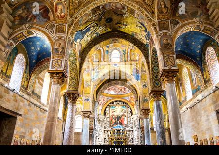 Wunderschöne byzantinische Mosaiken in Palermo, Italien - Stockfoto