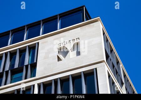 Logo der niederländische Hotelkette CitizenM auf ihre Gebäude in London, Großbritannien - Stockfoto