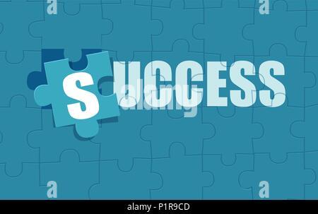 Vektor Flat Style Bild von Puzzle jigsaw komponiert in Wort Erfolg. - Stockfoto