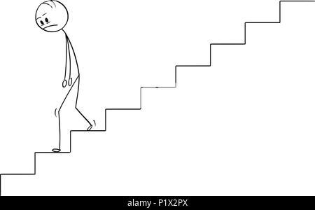 Cartoon von traurig und deprimiert Mann oder Geschäftsmann zu Fuß unten - Stockfoto
