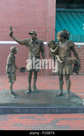 Hadlock Field Familie Skulptur Portland Maine - Stockfoto