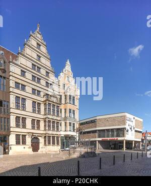 Leibnithaus, Renaissance Town House von 1499, auf der rechten das Historische Museum am Holzmarkt, Hannover, Niedersachsen, Deutschland, Europa ich Leibnithaus, R - Stockfoto