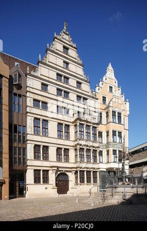 Leibnithaus, Renaissance Town House ab 1499, am Holzmarkt, Hannover, Niedersachsen, Deutschland, Europa ich Leibnithaus, renaissance-bürgerhaus von 1499 - Stockfoto