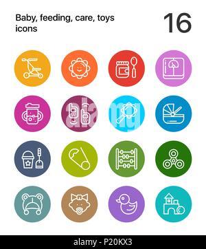 Bunte Baby, Fütterung, Pflege, Spielzeug Icons für Web und mobile Design Pack 3 - Stockfoto