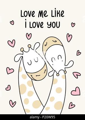 Zwei süße Flachbild Giraffen. Liebe mich wie ich dich liebe vector Cartoon Illustration Poster - Stockfoto