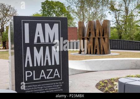 """Memphis, Tennessee - """"Ich bin ein Mann Plaza,' neben Clayborn Tempel. Die Kirche war ein Sammelpunkt für die 1968 Memphis Sanitation Workers Strike, duri - Stockfoto"""