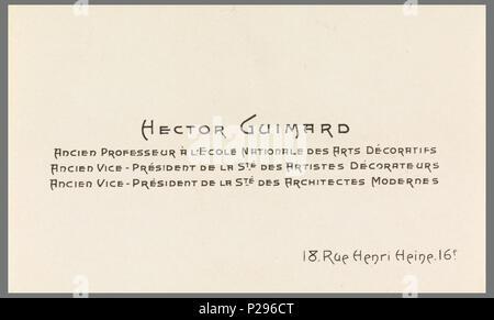 Englisch Guimard Druckplatte Druckplatte Für Visitenkarten