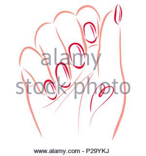 Weibliche hand mit schöne Nägel und Herzförmigen Tattoos - Stockfoto