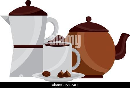 Kaffeemaschine und Teekanne und Tasse Kakao Nüsse Schokolade - Stockfoto