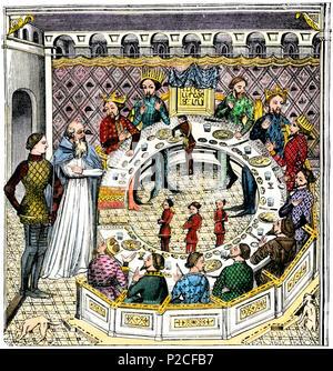 Runde Tisch des Königs Artus der Bretagne. Hand - farbige Holzschnitt Reproduktion des 14. Jahrhunderts Miniatur - Stockfoto