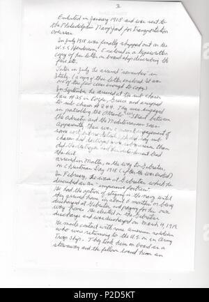 Englisch Auf Der Zweiten Seite Eines Schreibens Von Arthur Rose
