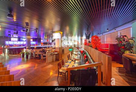 """Moskau - September 2014: Das Design der stilvollen und modernen Interieur der Japanischen Restaurant """"Tokyo Bay' - Stockfoto"""