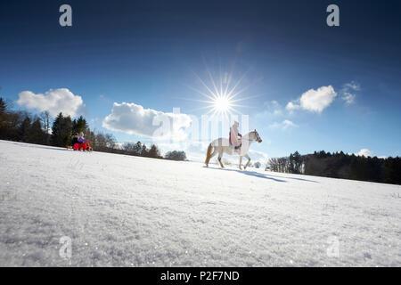 Mutter auf Pferd ziehen Kinder auf Schlitten, Buchensee, Muensing Bayern Deutschland - Stockfoto