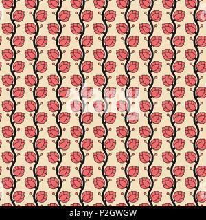 Die nahtlose Vektor Muster mit Japan Hopfenpflanze - Stockfoto