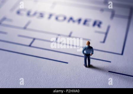 Herausforderung für Kunden Konzept. von Miniatur Figur der Geschäftsmann auf das Labyrinth, auf der Suche nach einer Zufriedenheit der Kunden - Stockfoto