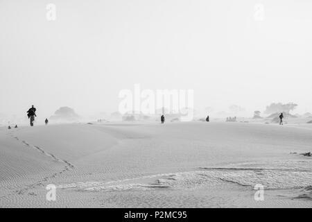 SOSSUSVLEI, NAMIBIA - 15. MAI 2018; Touristen über Dünen während Sand storm Ankunft in Schwarzweiß. - Stockfoto
