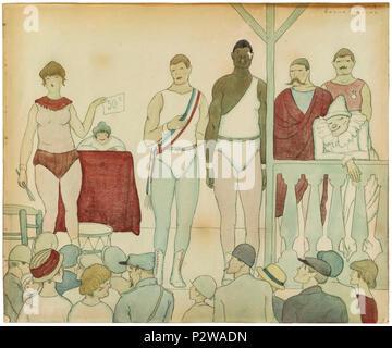 04. TornA 9 Esquius. Lluitadors de Fira. VINSEUM, Museu de les Kulturen del vi de Catalunya - Stockfoto