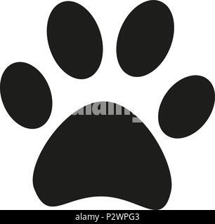 Schwarze und weiße Katze Pfote footprint Silhouette - Stockfoto