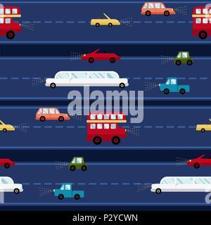 Cartoon Auto vector nahtlose Muster transport Hintergrund reisen Textur - Stockfoto
