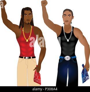 Vektor-Illustration von zwei Banden, die in der Einheit in einem gewaltfreien Protest für Gerechtigkeit stehen. - Stockfoto