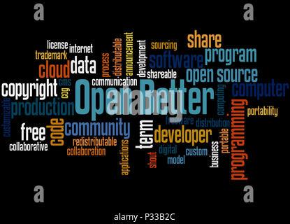 Öffnen Sie besser, Word cloud Konzept auf weißem Hintergrund. - Stockfoto