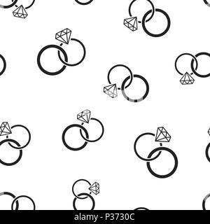 Engagement Ring Mit Diamant Symbol Nahtlose Muster Hintergrund