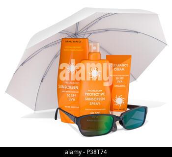 Sonnenschutzmittel mit Sonnenbrille unter dem Sonnenschirm. 3D-Rendering - Stockfoto