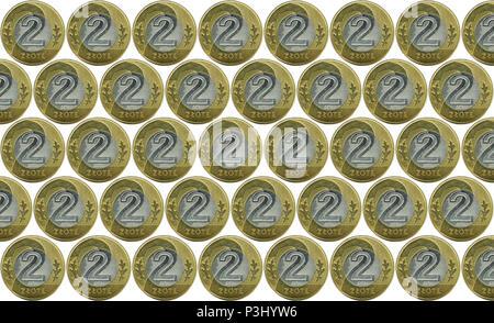 Ein Haufen Von Münzen Die Polnische Währung 1 Und 2 Pln Polnischer