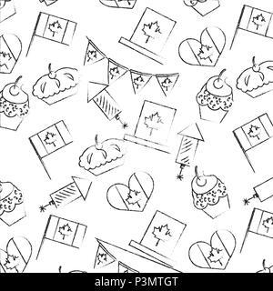 Canada Day Feier Kuchen Feuerwerk Flagge Herz Hintergrund Vector Illustration - Stockfoto