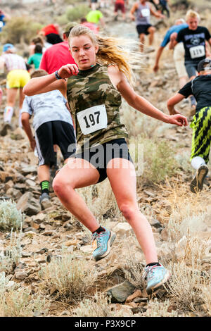 Weibliche Athleten Ruby Braun konkurriert in einem Wettlauf und steigen 'Berg (Tenderfoot Berg) während der jährlichen Fibark Festival; Salida, Colorado; - Stockfoto
