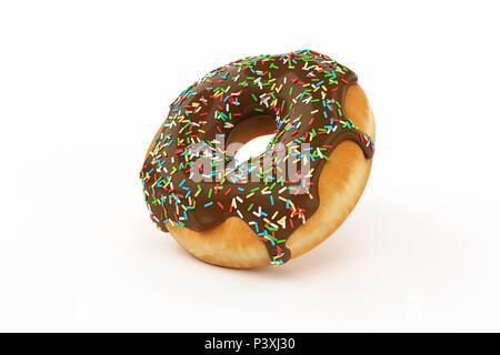Köstliche Krapfen mit Streuseln isoliert auf weißem Hintergrund Seitenansicht - Stockfoto