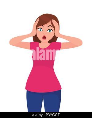 Junge Frau Angst Gesichtsausdruck, junge Frau Ausdruck mit Ihren Händen auf den Kopf. Cartoon Stil Abbildung. - Stockfoto