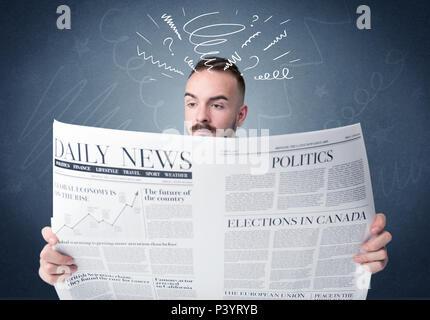 Verwirrt Geschäftsmann holding Zeitung Konzept - Stockfoto