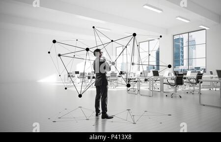 Netzwerke und soziale Kommunikationskonzept als wirksame Punkt f - Stockfoto