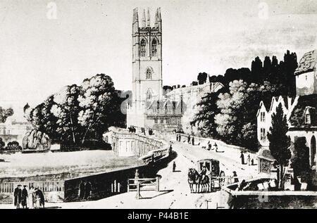 Eine Post-Chaise der Oxford Turnpike für London gebunden, ca. 1800 verlassen - Stockfoto