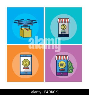 Financial Technology square Frames - Stockfoto