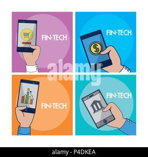 Financial Technology square Frames - Stockfoto