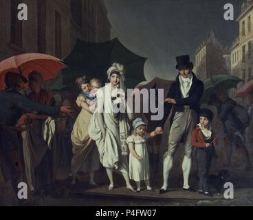 EL CHAPARRON - SIGLO XIX-O/L-PINTURA NEOCLASICA FRANCESA. Autor: Louis Leopold Boilly (1761-1845). Lage: Louvre Museum - Gemälde. - Stockfoto