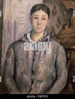 'Madame Cézanne in Blau', 1888-1890, Öl auf Leinwand, 74 x 61 cm. Autor: Paul Cézanne (1839-1906). Lage: das Museum der feinen künste, Houston - Texas. - Stockfoto