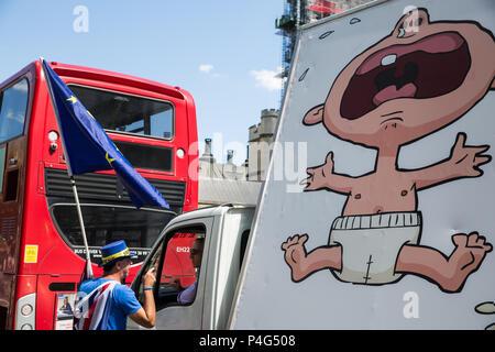 London, Großbritannien. 22. Juni, 2018. Ein pro-EU-Spoiler argumentiert mit der Fahrer eines Transporters Anzeige einer UKIP Poster außerhalb der Häuser des Parlaments. Credit: Mark Kerrison/Alamy leben Nachrichten - Stockfoto