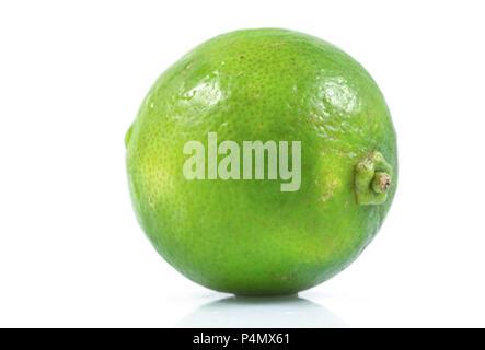 Saftiges Stück Kalk, Zitrusfrüchte mit grüner Zitrone Hälfte auf weißem Hintergrund, tropische Früchte, Flach, Ansicht von oben. - Stockfoto