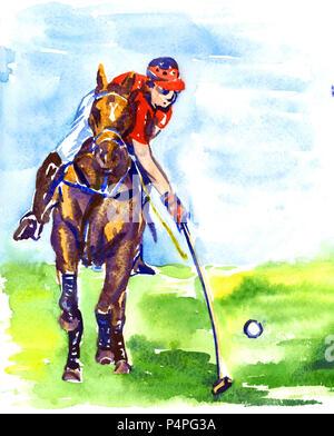 Auf dem Rücken der Pferde spielen Polo im sonnigen Sommertag Athlet, Handgemalten Aquarell Abbildung - Stockfoto