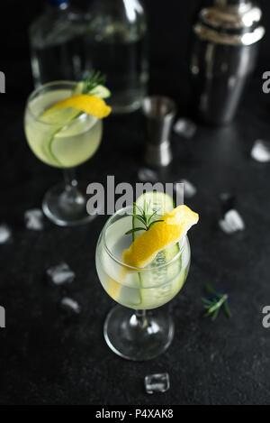 Gin Fizz Cocktail mit Zitrone, Gurke, Rosmarin und Eis. Gin Tonic oder Gimlet auf schwarzem Hintergrund, kopieren. - Stockfoto