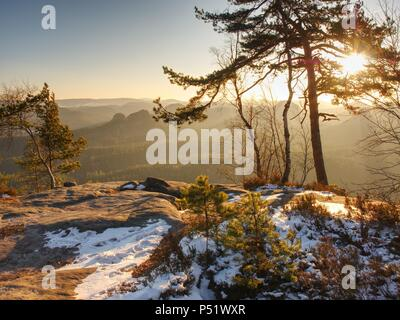 Aufenthalt im verschneiten Wald auf dem Berg. Ersten warmen Sonnenstrahlen durch die Bäume Äste. - Stockfoto